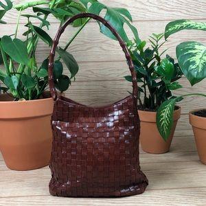 MONSAC Woven Leather Shoulder Bag
